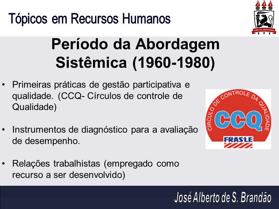 Período da Abordagem Sistêmica (1960-1980) Primeiras práticas de gestão participativa e qualidade. (CCQ- Círculos de controle de Qualidade) Instrument