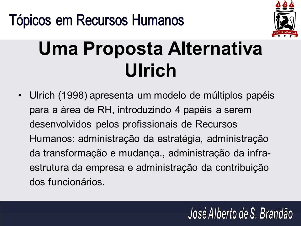 Uma Proposta Alternativa Ulrich Ulrich (1998) apresenta um modelo de múltiplos papéis para a área de RH, introduzindo 4 papéis a serem desenvolvidos p