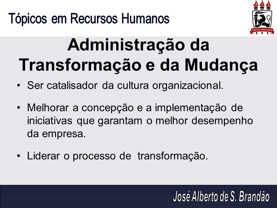 Administração da Transformação e da Mudança Ser catalisador da cultura organizacional. Melhorar a concepção e a implementação de iniciativas que garan