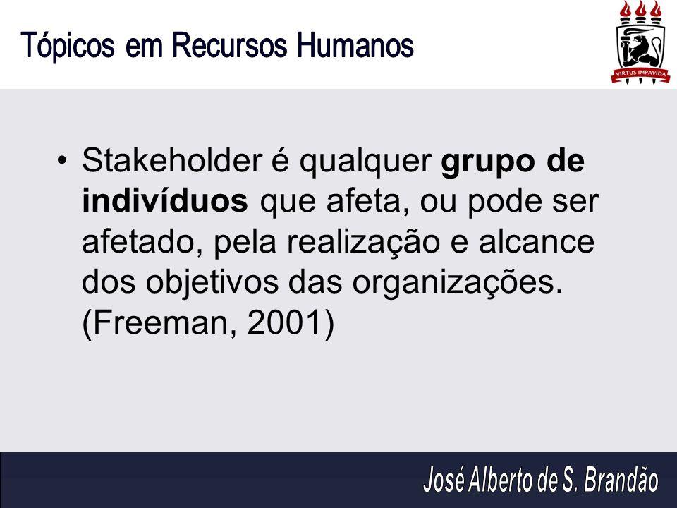 Stakeholder é qualquer grupo de indivíduos que afeta, ou pode ser afetado, pela realização e alcance dos objetivos das organizações. (Freeman, 2001)