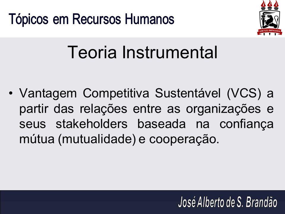 Teoria Instrumental Vantagem Competitiva Sustentável (VCS) a partir das relações entre as organizações e seus stakeholders baseada na confiança mútua