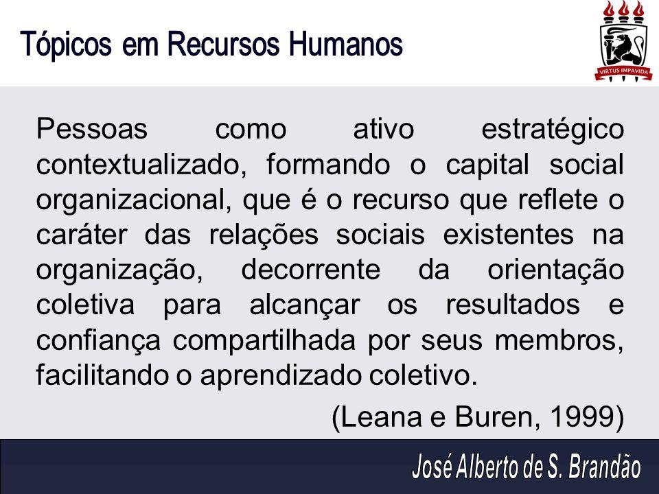 Pessoas como ativo estratégico contextualizado, formando o capital social organizacional, que é o recurso que reflete o caráter das relações sociais e