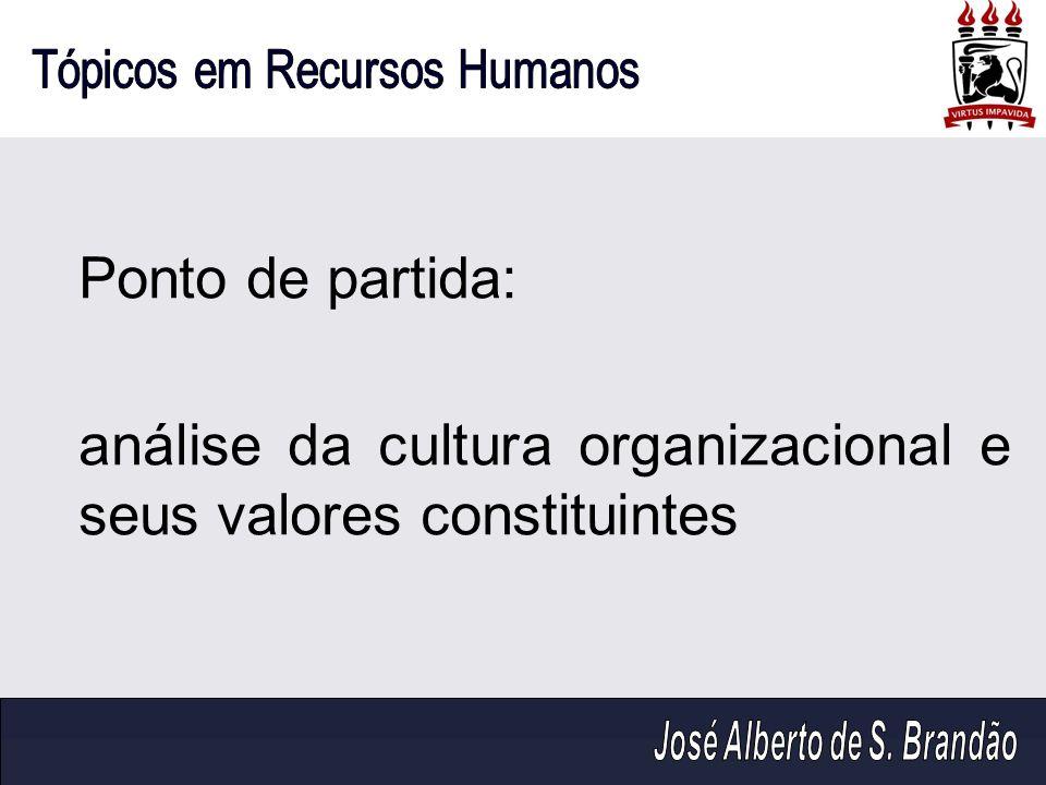Ponto de partida: análise da cultura organizacional e seus valores constituintes