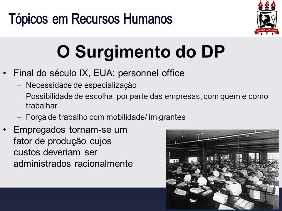 O Surgimento do DP Final do século IX, EUA: personnel office –Necessidade de especialização –Possibilidade de escolha, por parte das empresas, com que