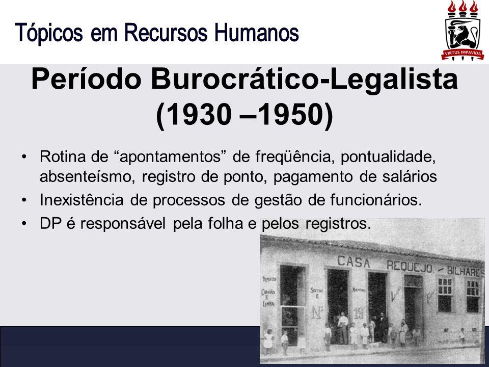 Período Burocrático-Legalista (1930 –1950) Rotina de apontamentos de freqüência, pontualidade, absenteísmo, registro de ponto, pagamento de salários I