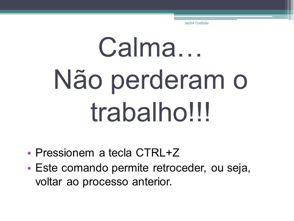 Calma… Não perderam o trabalho!!! Pressionem a tecla CTRL+Z Este comando permite retroceder, ou seja, voltar ao processo anterior. André Coutinho