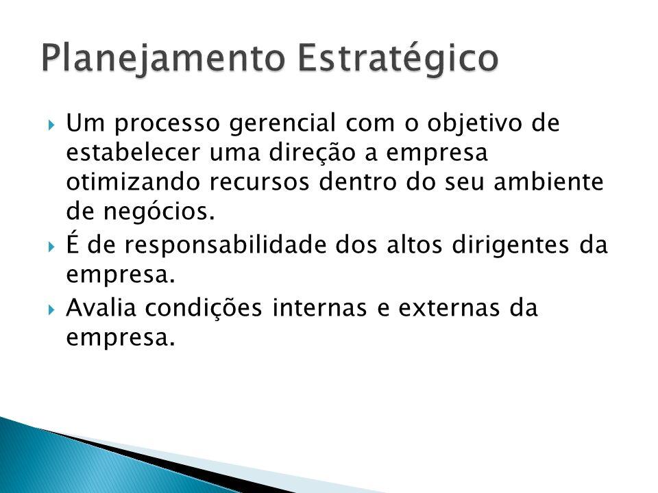 Um processo gerencial com o objetivo de estabelecer uma direção a empresa otimizando recursos dentro do seu ambiente de negócios. É de responsabilidad