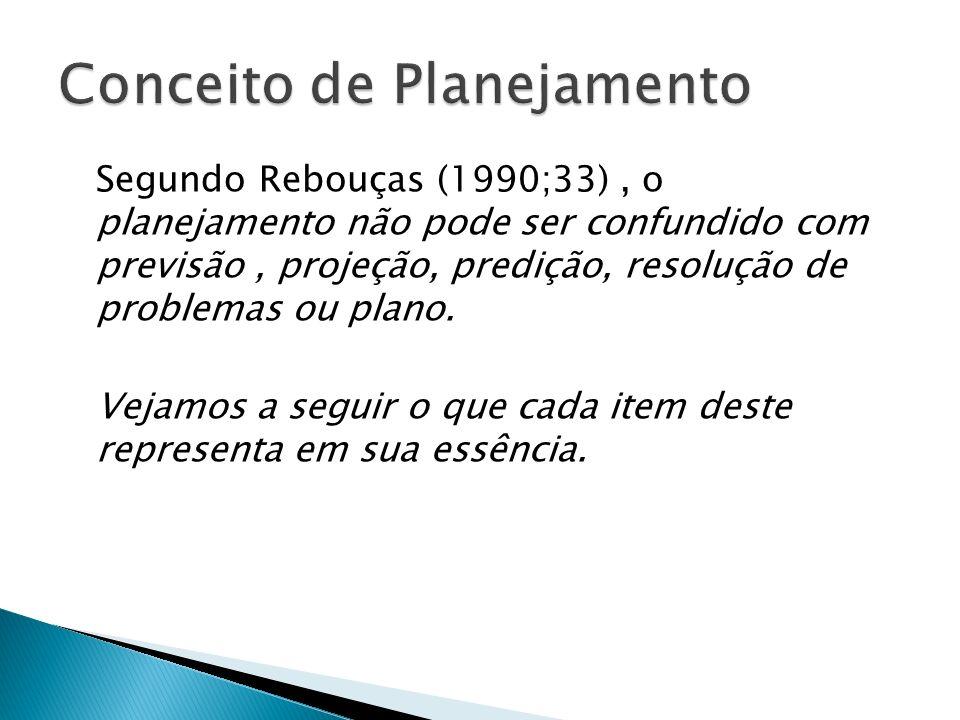 Segundo Rebouças (1990;33), o planejamento não pode ser confundido com previsão, projeção, predição, resolução de problemas ou plano. Vejamos a seguir