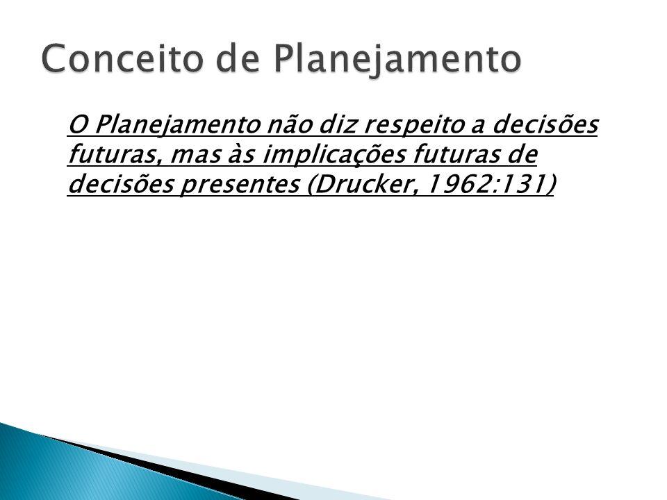 O Planejamento não diz respeito a decisões futuras, mas às implicações futuras de decisões presentes (Drucker, 1962:131)