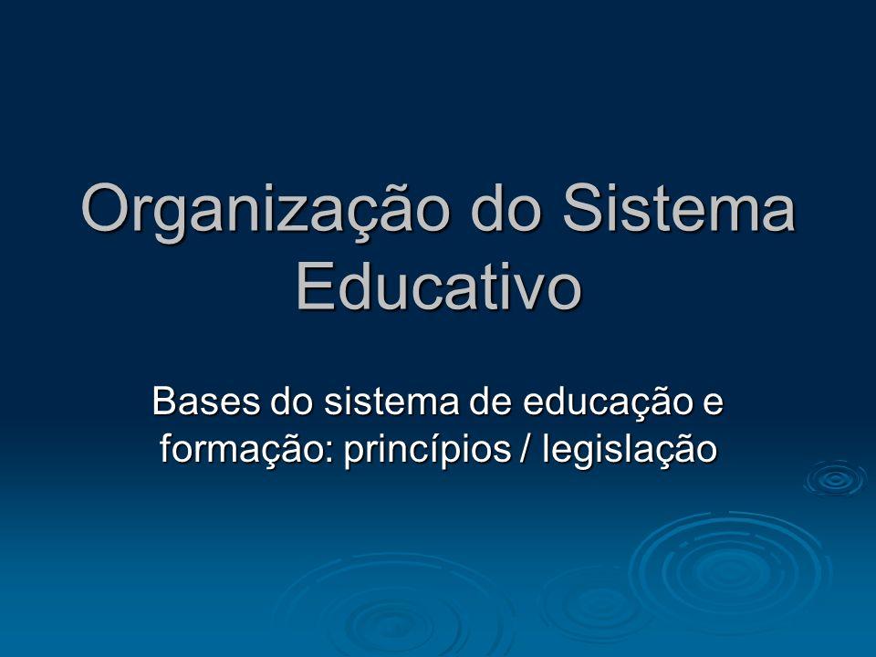 Organização do Sistema Educativo Bases do sistema de educação e formação: princípios / legislação