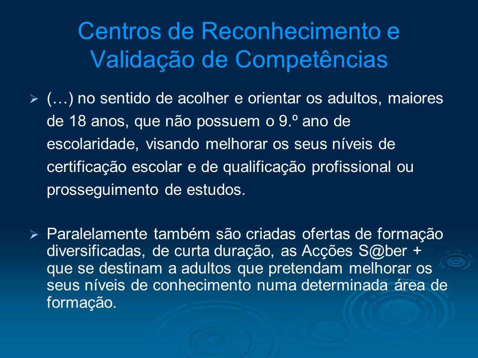 Centros de Reconhecimento e Validação de Competências (…) no sentido de acolher e orientar os adultos, maiores de 18 anos, que não possuem o 9.º ano d