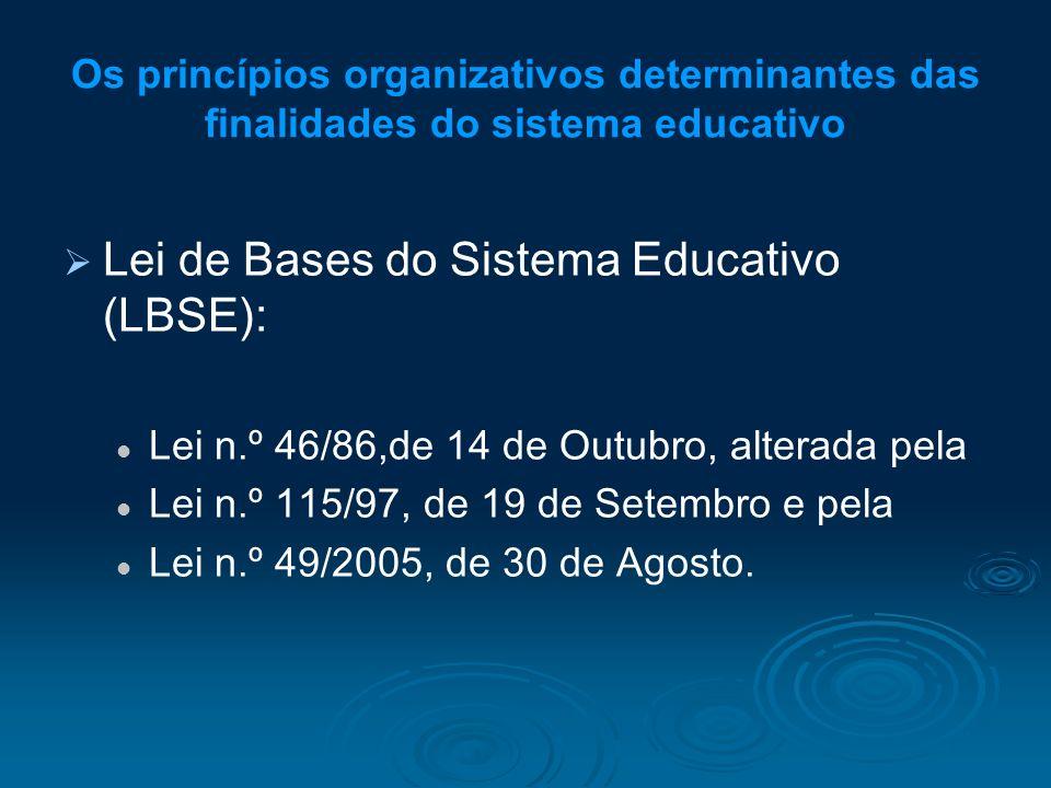 Os princípios organizativos determinantes das finalidades do sistema educativo Lei de Bases do Sistema Educativo (LBSE): Lei n.º 46/86,de 14 de Outubr