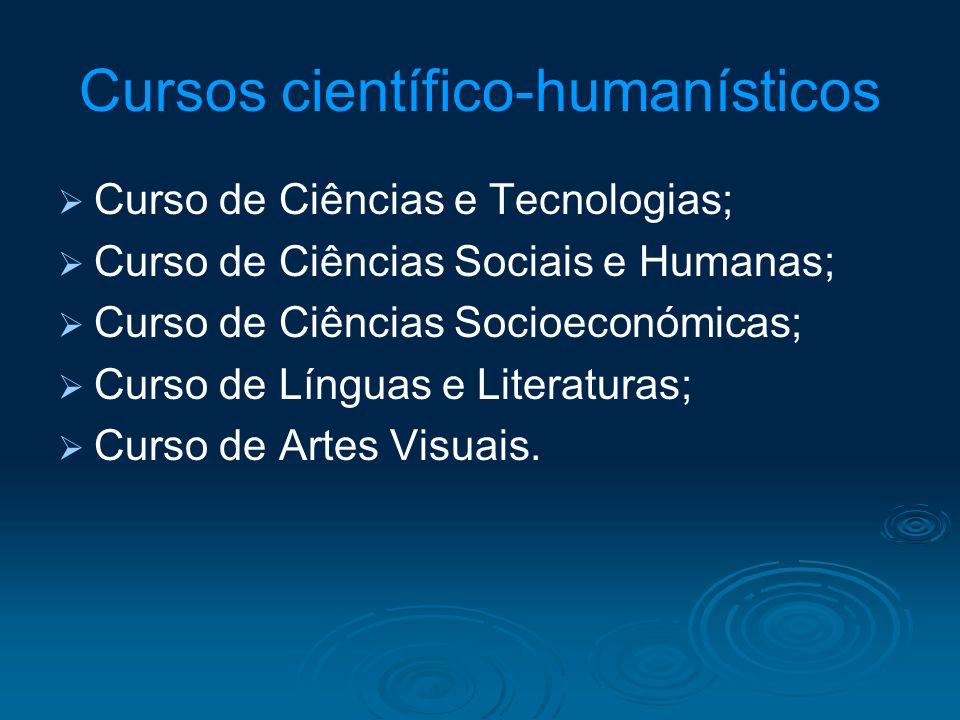 Cursos científico-humanísticos Curso de Ciências e Tecnologias; Curso de Ciências Sociais e Humanas; Curso de Ciências Socioeconómicas; Curso de Língu