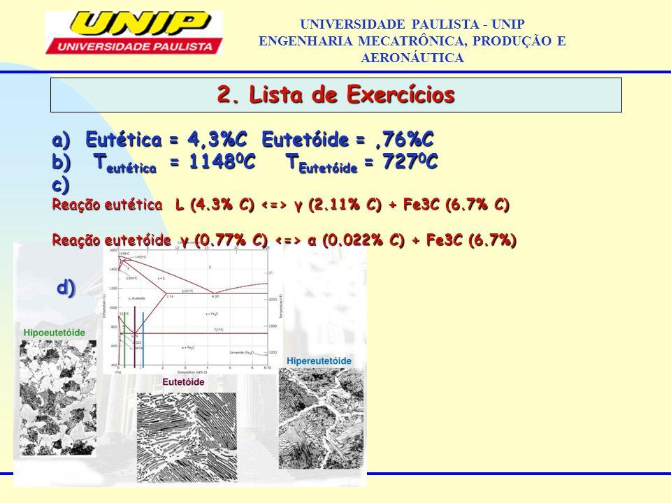 2. Lista de Exercícios UNIVERSIDADE PAULISTA - UNIP ENGENHARIA MECATRÔNICA, PRODUÇÃO E AERONÁUTICAd) a)Eutética = 4,3%C Eutetóide =,76%C b) T eutética