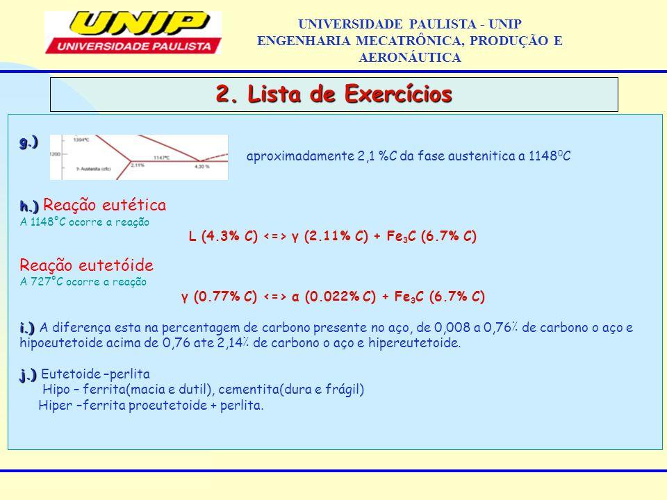 2. Lista de Exercícios UNIVERSIDADE PAULISTA - UNIP ENGENHARIA MECATRÔNICA, PRODUÇÃO E AERONÁUTICAg.) aproximadamente 2,1 %C da fase austenitica a 114