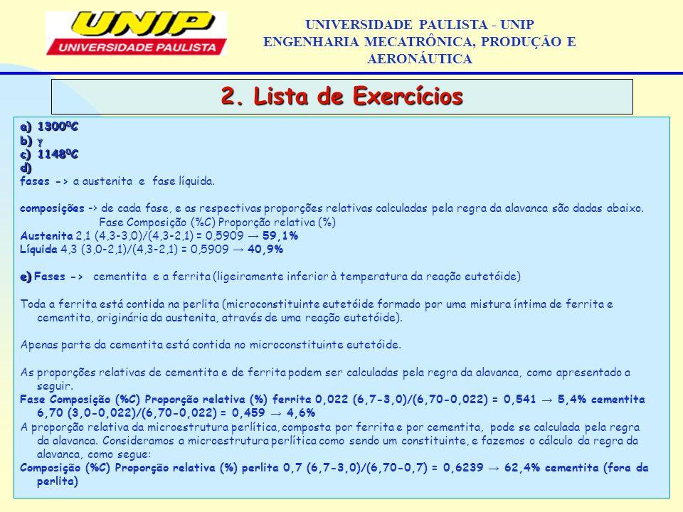 2. Lista de Exercícios UNIVERSIDADE PAULISTA - UNIP ENGENHARIA MECATRÔNICA, PRODUÇÃO E AERONÁUTICA a)1300 0 C b) b) c)1148 0 C d) d) fases -> a austen