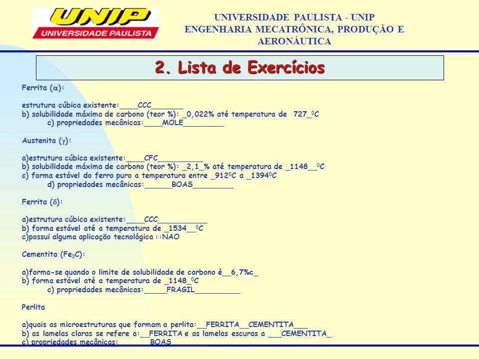 2. Lista de Exercícios UNIVERSIDADE PAULISTA - UNIP ENGENHARIA MECATRÔNICA, PRODUÇÃO E AERONÁUTICA Ferrita ( ): estrutura cúbica existente:____CCC____