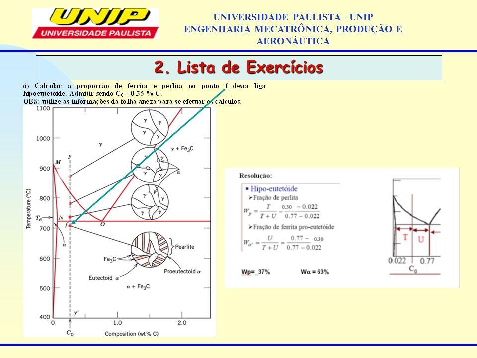 2. Lista de Exercícios UNIVERSIDADE PAULISTA - UNIP ENGENHARIA MECATRÔNICA, PRODUÇÃO E AERONÁUTICA