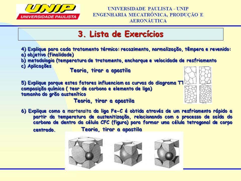 3. Lista de Exercícios UNIVERSIDADE PAULISTA - UNIP ENGENHARIA MECATRÔNICA, PRODUÇÃO E AERONÁUTICA 4) Explique para cada tratamento térmico: recozimen