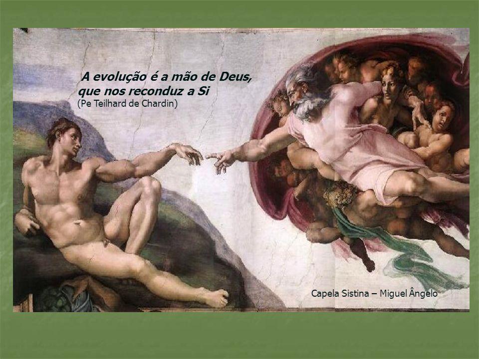 A evolução é a mão de Deus, que nos reconduz a Si (Pe Teilhard de Chardin) Capela Sistina – Miguel Ângelo