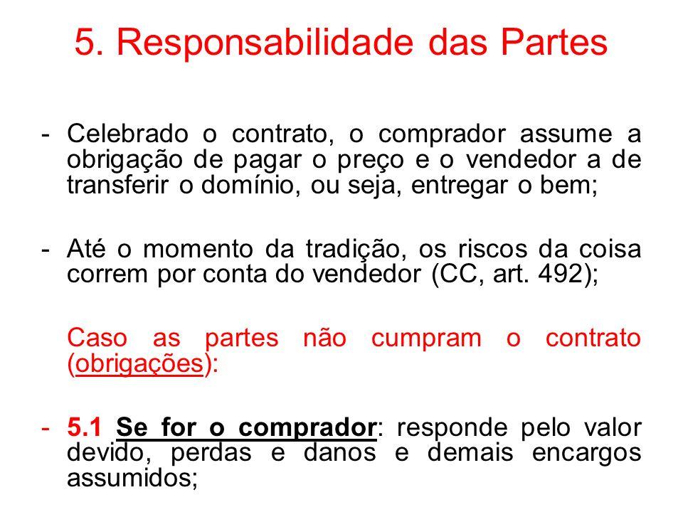 5. Responsabilidade das Partes -Celebrado o contrato, o comprador assume a obrigação de pagar o preço e o vendedor a de transferir o domínio, ou seja,