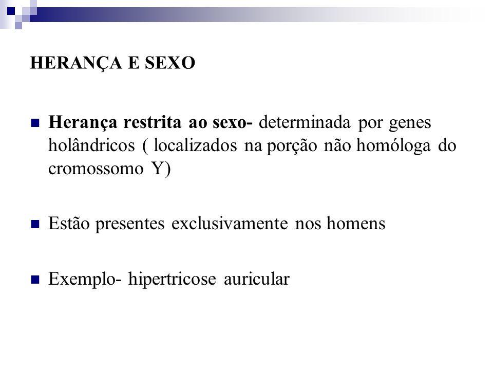 HERANÇA E SEXO Herança restrita ao sexo- determinada por genes holândricos ( localizados na porção não homóloga do cromossomo Y) Estão presentes exclu