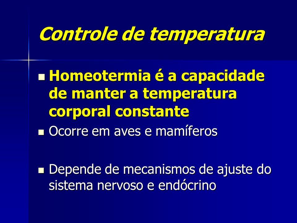 Controle de temperatura Homeotermia é a capacidade de manter a temperatura corporal constante Homeotermia é a capacidade de manter a temperatura corpo