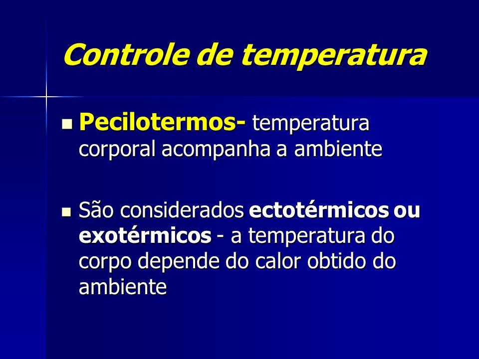 Controle de temperatura Pecilotermos- temperatura corporal acompanha a ambiente Pecilotermos- temperatura corporal acompanha a ambiente São considerad