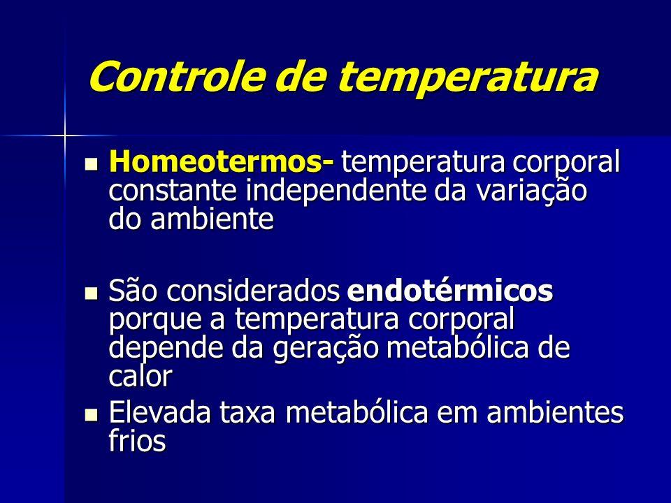 Controle de temperatura Homeotermos- temperatura corporal constante independente da variação do ambiente Homeotermos- temperatura corporal constante i