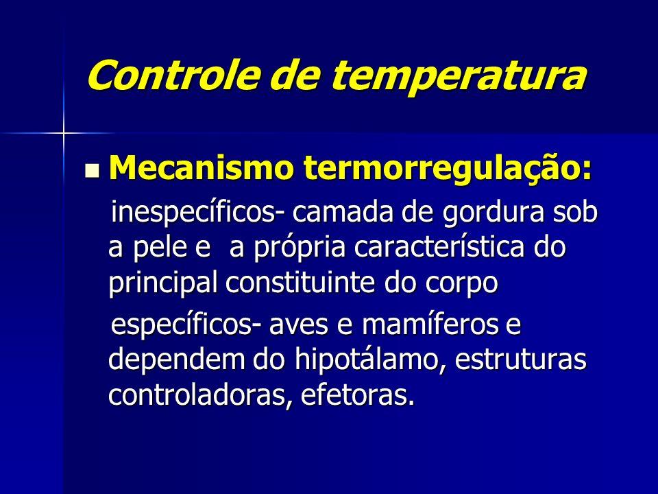 Controle de temperatura Mecanismo termorregulação: Mecanismo termorregulação: inespecíficos- camada de gordura sob a pele e a própria característica d
