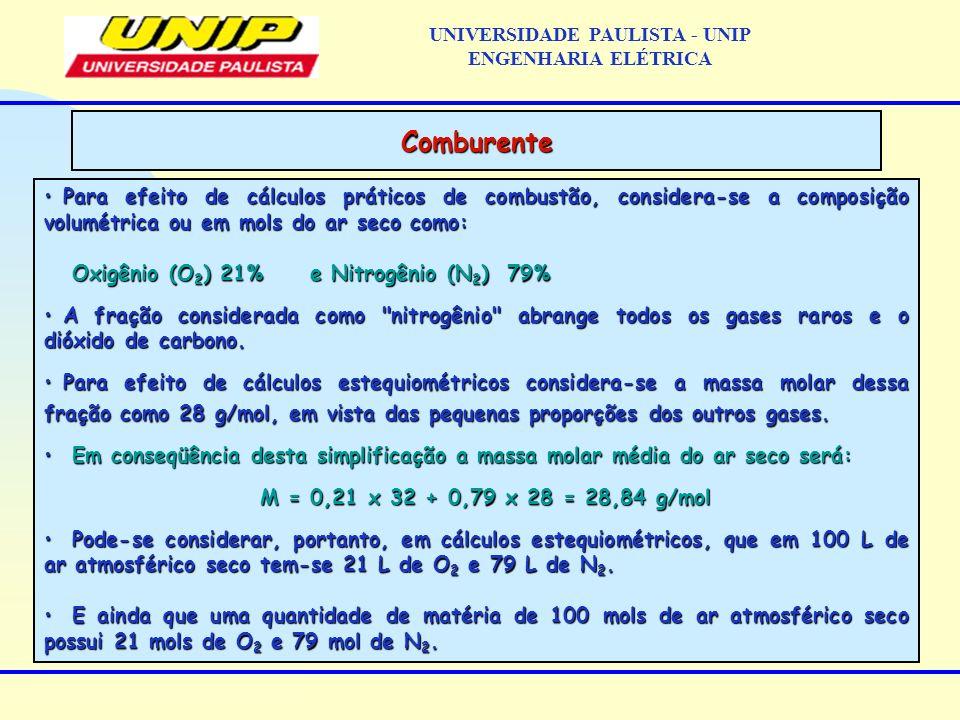 Para efeito de cálculos práticos de combustão, considera-se a composição volumétrica ou em mols do ar seco como:Para efeito de cálculos práticos de co