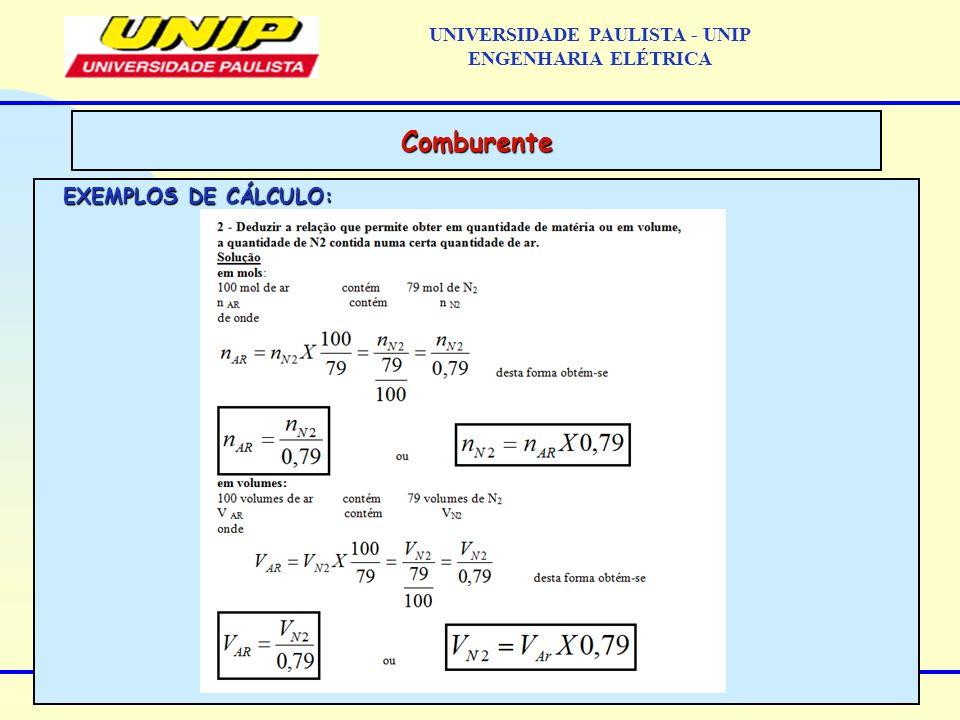 EXEMPLOS DE CÁLCULO: Comburente UNIVERSIDADE PAULISTA - UNIP ENGENHARIA ELÉTRICA
