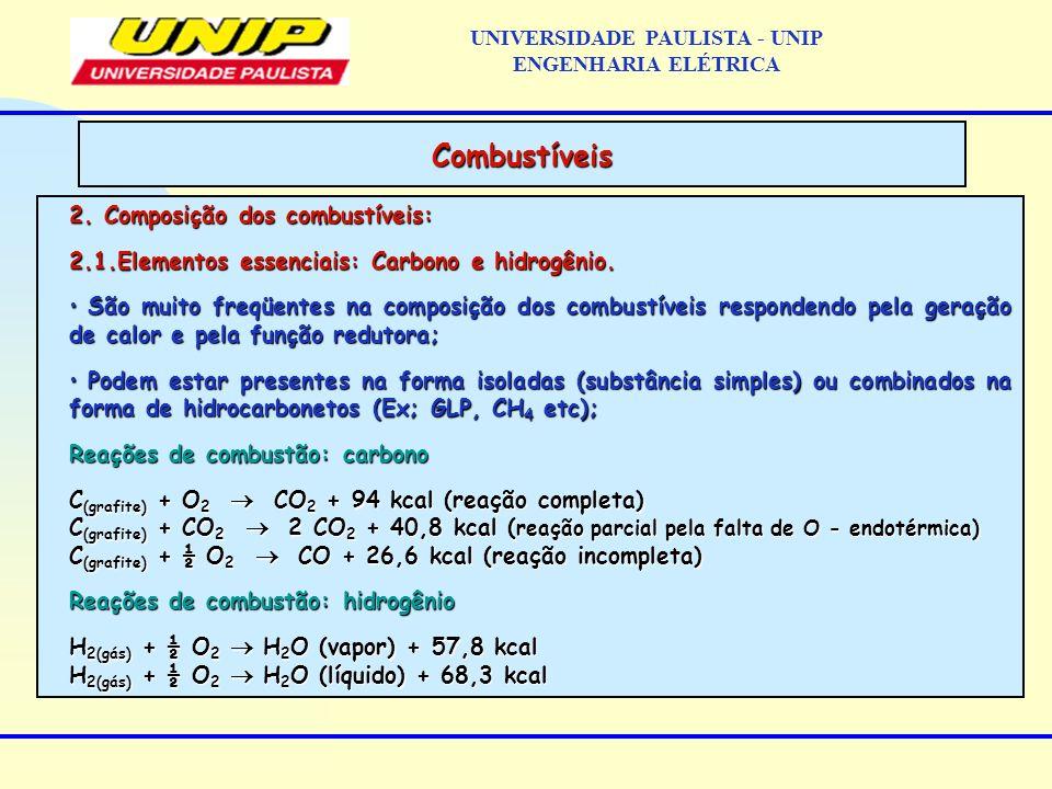 2. Composição dos combustíveis: 2.1.Elementos essenciais: Carbono e hidrogênio. São muito freqüentes na composição dos combustíveis respondendo pela g