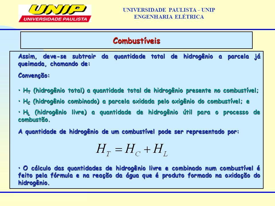 Assim, deve-se subtrair da quantidade total de hidrogênio a parcela já queimada, chamando de: Convenção: H T (hidrogênio total) a quantidade total de