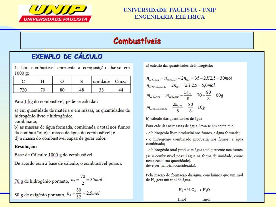 EXEMPLO DE CÁLCULO Combustíveis UNIVERSIDADE PAULISTA - UNIP ENGENHARIA ELÉTRICA