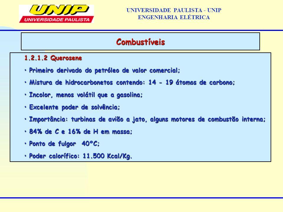 1.2.1.2 Querosene Primeiro derivado do petróleo de valor comercial; Primeiro derivado do petróleo de valor comercial; Mistura de hidrocarbonetos conte