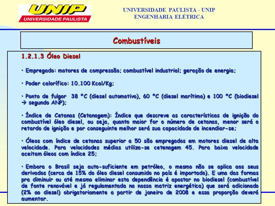 1.2.1.3 Óleo Diesel Empregado: motores de compressão; combustível industrial; geração de energia; Empregado: motores de compressão; combustível indust