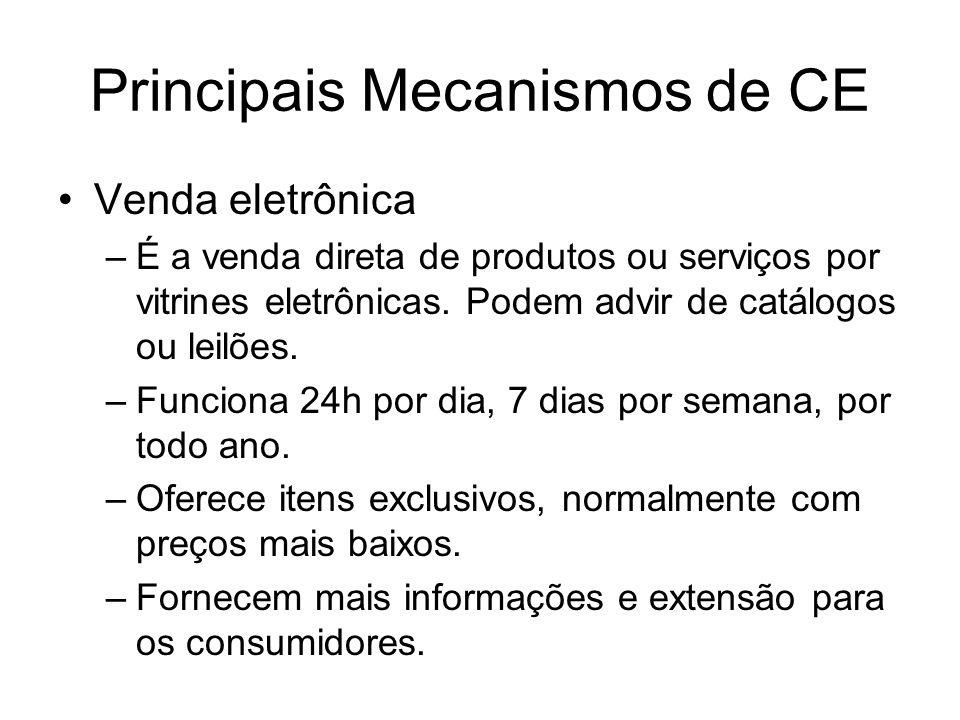 Principais Mecanismos de CE Venda eletrônica –É a venda direta de produtos ou serviços por vitrines eletrônicas. Podem advir de catálogos ou leilões.