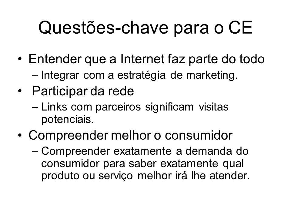 Questões-chave para o CE Entender que a Internet faz parte do todo –Integrar com a estratégia de marketing. Participar da rede –Links com parceiros si
