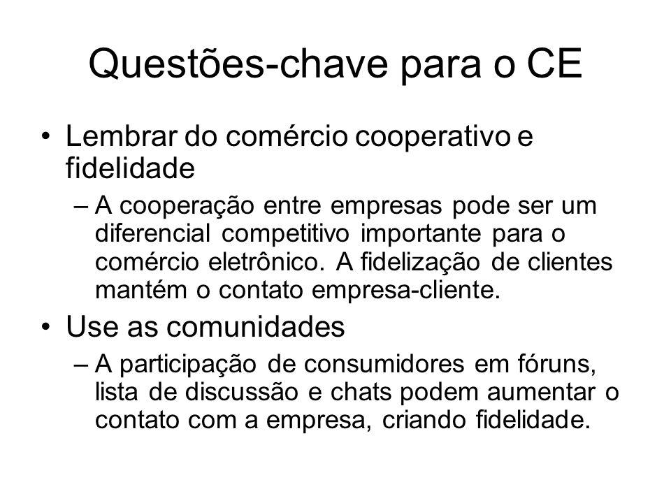 Questões-chave para o CE Lembrar do comércio cooperativo e fidelidade –A cooperação entre empresas pode ser um diferencial competitivo importante para