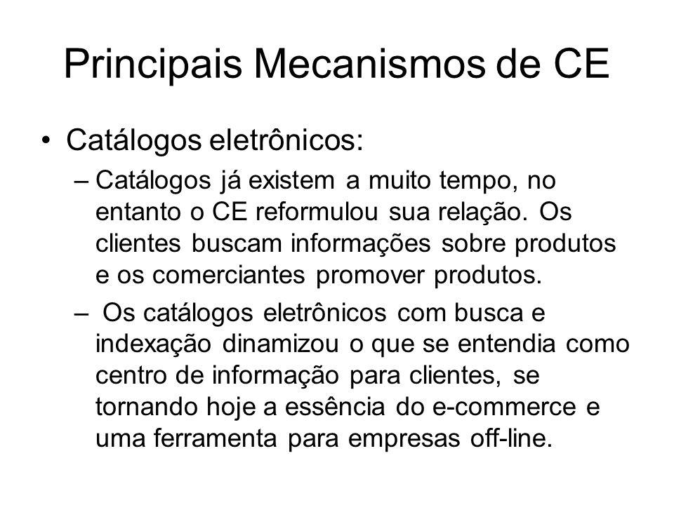 Principais Mecanismos de CE Catálogos eletrônicos: –Catálogos já existem a muito tempo, no entanto o CE reformulou sua relação. Os clientes buscam inf