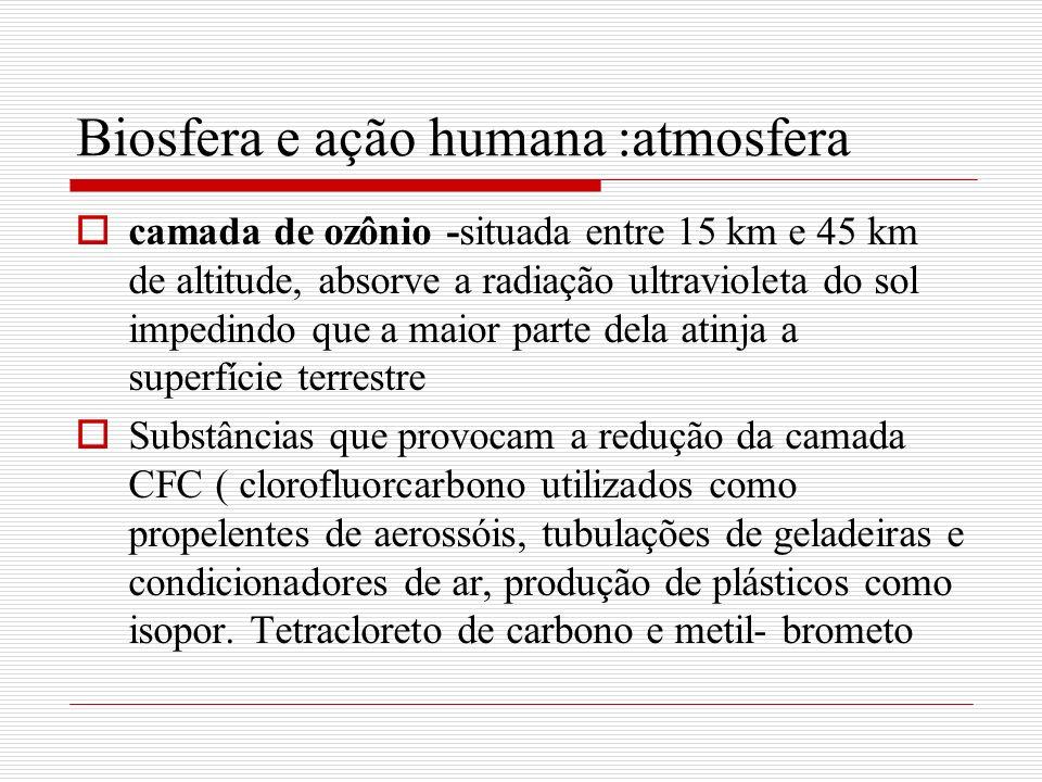 Biosfera e ação humana :atmosfera camada de ozônio -situada entre 15 km e 45 km de altitude, absorve a radiação ultravioleta do sol impedindo que a ma