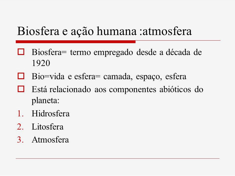 Biosfera e ação humana :atmosfera Hidrosfera- espaço ocupado por água ( oceanos, mares, lagos rios ) -3/4 da Terra Litosfera –espaço ocupado por rochas e solos Atmosfera –espaço ocupado por gases( nitrogênio 78%, oxigênio 21% gás carbônico 0,03%