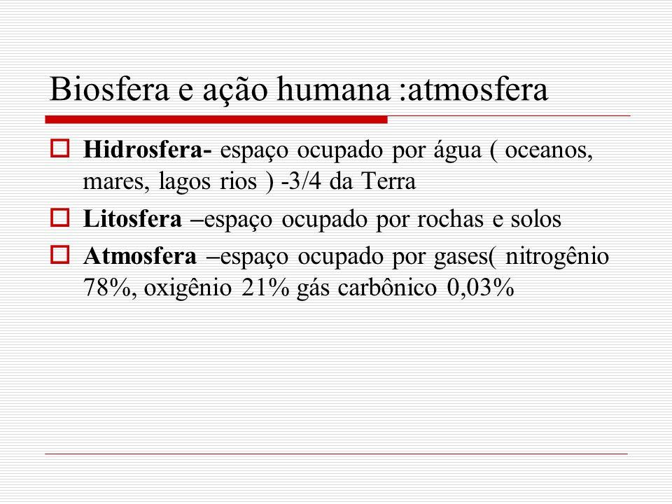 Biosfera e ação humana :atmosfera camada de ozônio -situada entre 15 km e 45 km de altitude, absorve a radiação ultravioleta do sol impedindo que a maior parte dela atinja a superfície terrestre Substâncias que provocam a redução da camada CFC ( clorofluorcarbono utilizados como propelentes de aerossóis, tubulações de geladeiras e condicionadores de ar, produção de plásticos como isopor.