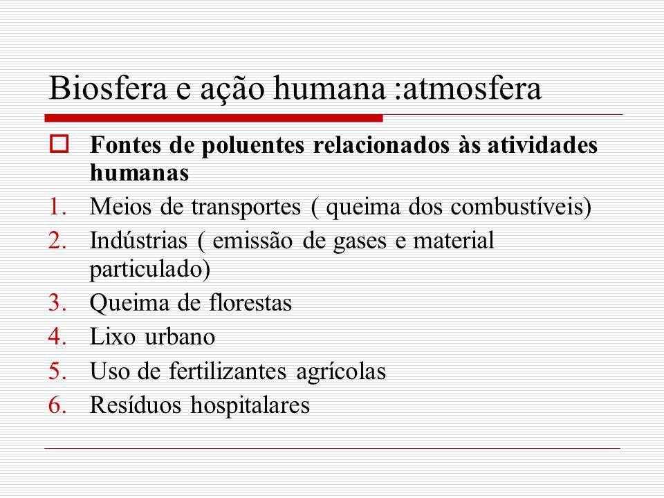 Biosfera e ação humana :atmosfera Fontes de poluentes relacionados às atividades humanas 1.Meios de transportes ( queima dos combustíveis) 2.Indústria