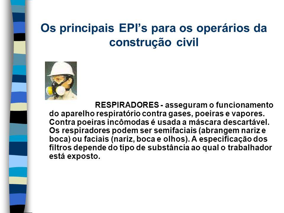 RESPIRADORES - asseguram o funcionamento do aparelho respiratório contra gases, poeiras e vapores. Contra poeiras incômodas é usada a máscara descartá