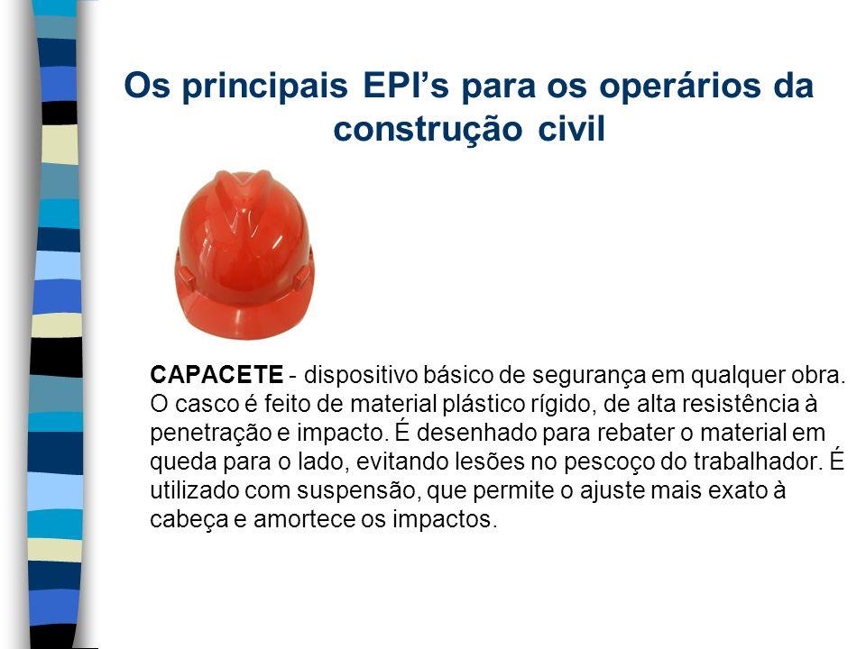 CAPACETE - dispositivo básico de segurança em qualquer obra. O casco é feito de material plástico rígido, de alta resistência à penetração e impacto.
