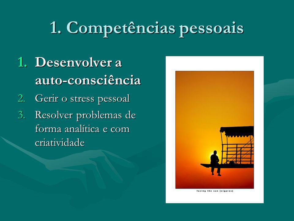 1. Competências pessoais 1.Desenvolver a auto-consciência 2.Gerir o stress pessoal 3.Resolver problemas de forma analítica e com criatividade