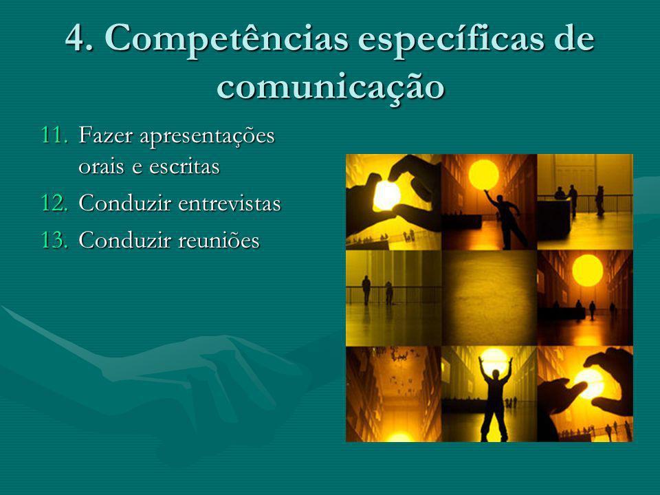 4. Competências específicas de comunicação 11.Fazer apresentações orais e escritas 12.Conduzir entrevistas 13.Conduzir reuniões