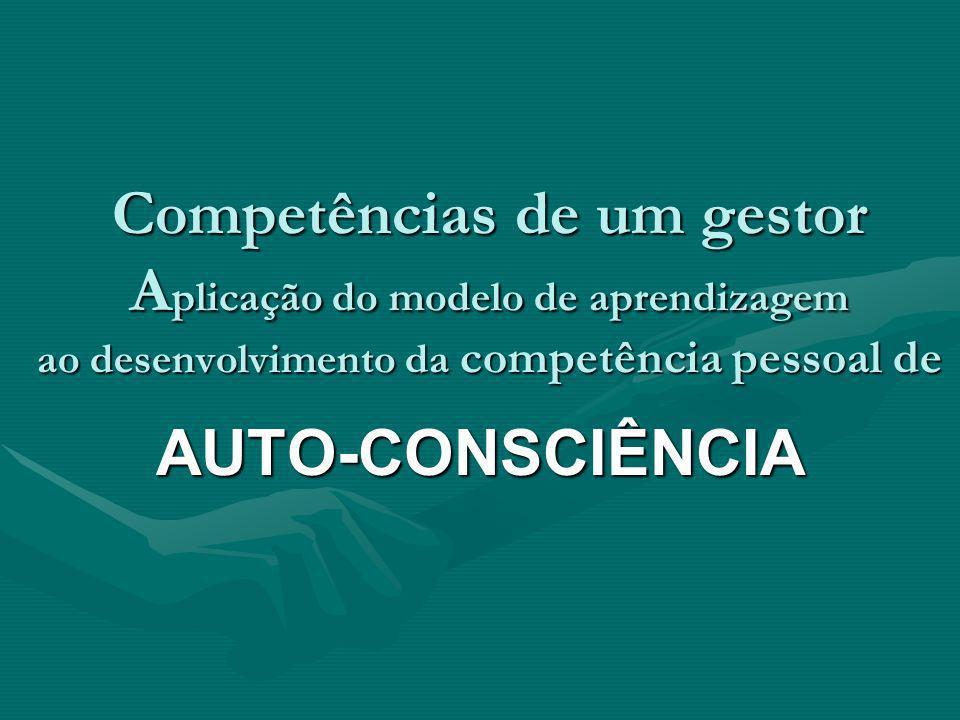 Competências de um gestor A plicação do modelo de aprendizagem ao desenvolvimento da competência pessoal de AUTO-CONSCIÊNCIA